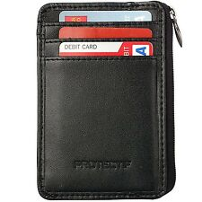 Slim Wallet for Men Protectif Mini Card Holder with Zipper and ID Window