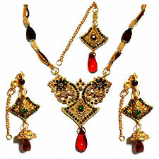 3tlg Bollywood Schmuckset Brautschmuck Bridal Ohrringe + Collier + Stirnkette