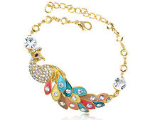 Gold Colorful Fun Peacock Simple Crystal Rhinestone Charm Bangle Bracelet