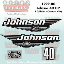 1999-00 Johnson 40 HP 2 cyl Gunmetal Grey Outboard Reproduction 4Pc Vinyl Decal