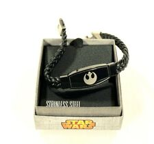 Star Wars REBEL ALLIANCE Bracelet with Leather Braided Band Stainless Steel