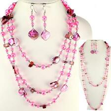 Rose Pink Abalone Shell Faux Pearl Long Earrings Necklace Set
