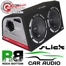"Vibe Slick 2400 Watts TWIN 12"" Inch Active Amplified Car Sub Subwoofer Bass Box"