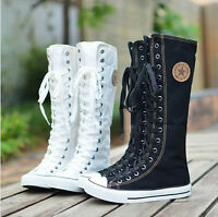 2015 PUNK EMO  Women Girl Shoes Zip Lace Up Boots Canvas Sneaker Knee High 905B