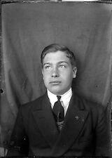 Portrait j. homme identité photomaton - négatif photo verre plaque  an. 1930