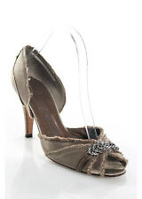 Pedro Garcia Taupe Beaded Satin D'Orsay Open Toe Heels Pumps Size 38.5 8.5
