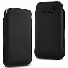 For - Panasonic Eluga Power - Black PU Leather Pull Tab Case Cover Pouch