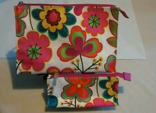 Clinique Floral Cosmetic Fashion Floral Cosmetic Zip Top Purse & Bag 2 piece set