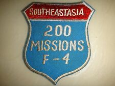 US Air Force SOUTHEAST ASIA 200 MISSIONS F-4 Patch From Vietnam War