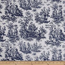 Waverly Rustic Life Toile Navy Fabric bty