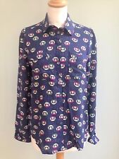 TOP SIZE 6 SHIRT STYLE BY PAUL & JOE SISTER KITTEN PRINT AIRFORCE BLUE PINK BNWT