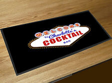Personalised Cocktail Bar Vegas Nevada lights Label bar runner counter mat