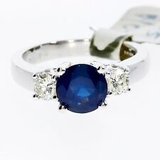 NEW BLUE SAPPHIRE AND DIAMOND 3 STONE 18CT WHITE GOLD RING