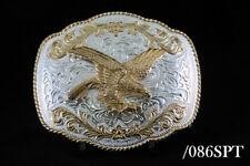 Western Design Cowboy Eagle Belt Buckle 2 Tones Gold & Silver Color #086SPT