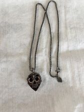 "Stephen Webster/ Rhodium Sterling Silver/ Onyx Inlay Skull Tag Necklace 24""-$650"