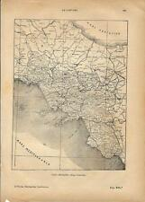 Carta geografica antica CAMPANIA 1891 Old antique map