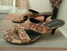 Donald J Pliner Vonna 3 Brown Leopard Cork Open Toe Sandal Slide Heel 9 1/2M$185