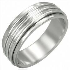Stainless Steel 8mm Ribbed Spinner Worry Ring Sz 12   b14