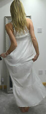 NEW women white crochet back maxi dress summer holiday 12 UK 40 EUR xmas present