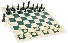 "New Regulation Black & White Chess Pieces & 20"" Green Vinyl Board- Single Weight"