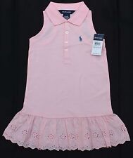 New Polo Ralph Lauren size 4 girls cotton eyelet dress 3 years NWT pink 4T kids