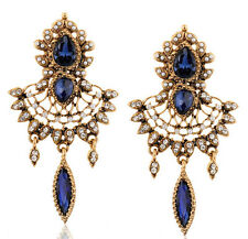 Fashion Luxury Retro Crystal Leaf Drop Flower Tassels Statement Stud Earring