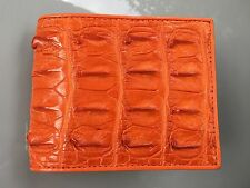 100% Genuine crocodile alligator skin leather bifold men orange wallet