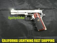 ALL METAL 1911 CHROME ITALY MOVIE PROP Pistol Replica Hand Gun Training COLT 45