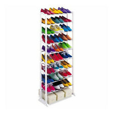 White Shoes Storage Rack Stand Holder Closet Organizer Tower 10 Tier 30 Pairs UK