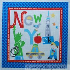 BonEful Fabric Cotton Quilt Block Square New York City NYC USA Kid Car Baby Bed