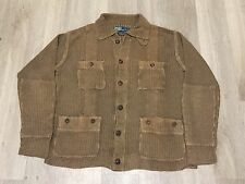 Polo Ralph Lauren Men's Tan Brown Vintage Wash Linen Knit Cardigan Sweater Large
