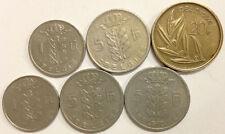 BELGIUM FRANCS SET OF 6 COINS: 20f-1981;5f-1950,1964,1965;1f-1977,1978