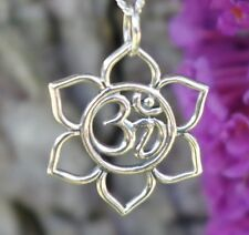 925 Sterling Silver Lotus Flower Pendant Charm Ohm Om Aum Fine Yoga Jewelry