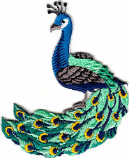 "PEACOCK PATCH (2 3/4"" X 2 1/4"") IRON ON EMBROIDERED APPLIQUE - BIRDS - PEACOCKS"
