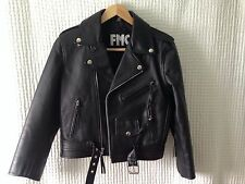 Youth Children's FMC Black Leather Motorcycle Riding Jacket Zippers Size 12