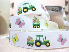 1 METRE TRACTOR + BUTTERFLY RIBBON SIZE 7/8 BOWS HEADBANDS BABY HAIR CAKE