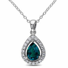 Sterling Silver 1 1/2 CT Emerald White Sapphire  Pendant Necklace With Chain