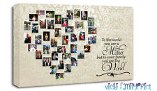 "FAMILY 20""x30"" HEART SHAPED COLLAGE CANVAS WITH MOTHER QUOTE PERSONALISED PHOTO"