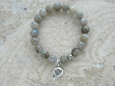 Labradorite Stone Gemstone Sterling Silver 'Lotus' Charm Stretch Beaded Bracelet