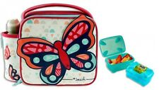Girls 3 Piece Butterfly Lunch Bag, Snack Box and Water Bottle