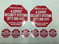 2 METAL HOME SECURITY BURGLAR ALARM SIGNS & 6 WINDOW and DOOR STICKERS DECALS
