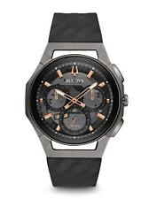 Bulova 98A162 Men's Curv Curve Watch Chronograph Titanium Rose Gold Rubber Strap