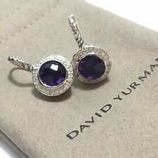 David Yurman Sterling Silver 925 Color Classics Amethyst Diamond Earrings