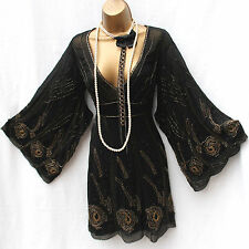 Limited KAREN MILLEN Black Silk Embellished Downton Oriental Cocktail Dress 12UK