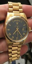 ROLEX 18K Gold QUICKSET PRESIDENT 18038 Blue Roman DIAL 3055 Movement 36MM