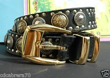 1993 vintage GIANNI VERSACE black leather studded Medusa head belt size 80 / 32