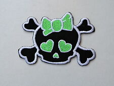 Skull With Green Bow,Aufnäher,Patch,Aufbügler,Iron On,Badge,Rockabilly