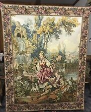 Antique French Wall Hanging Tapestry - 124 X 158 Cm