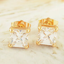 Classic 24K Yellow Gold Fille Square CZ Mans Stud Earrings Free Shipping Earings