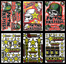 6 Rockstar Energy Stickers Metal Mulisha Motorbike Helmet Graphics Kits Decals